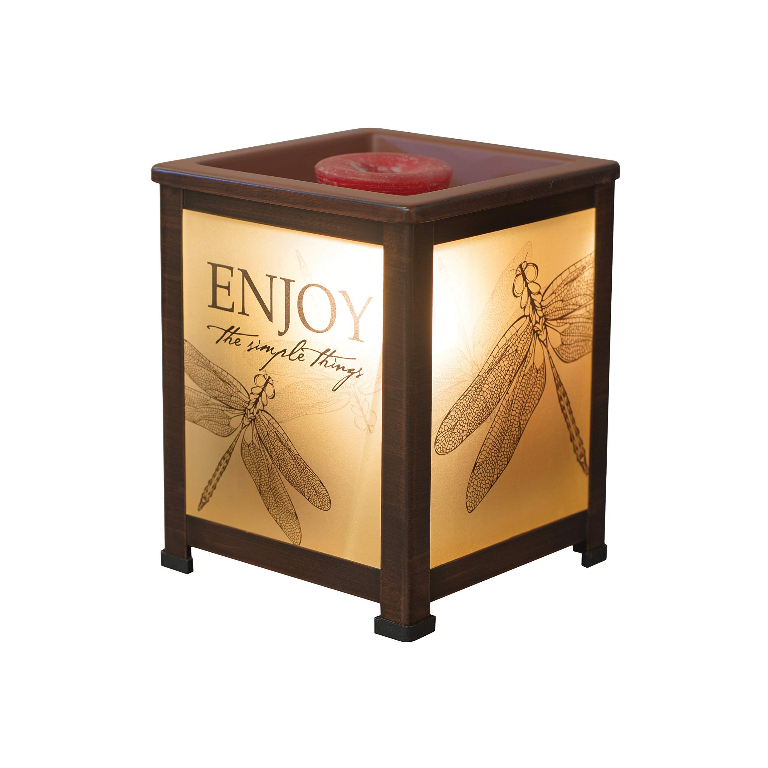 Elanze Designs Enjoy Simple Things Dragonfly Copper Tone Metal Electrical Wax Tart & Oil Glass Lantern Warmer