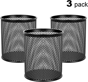 MaxGear Pen Holder Mesh Pencil Holder Metal Pencil Holders Pen Organizer Black for Desk Office Pencil Holders, 3 Pack
