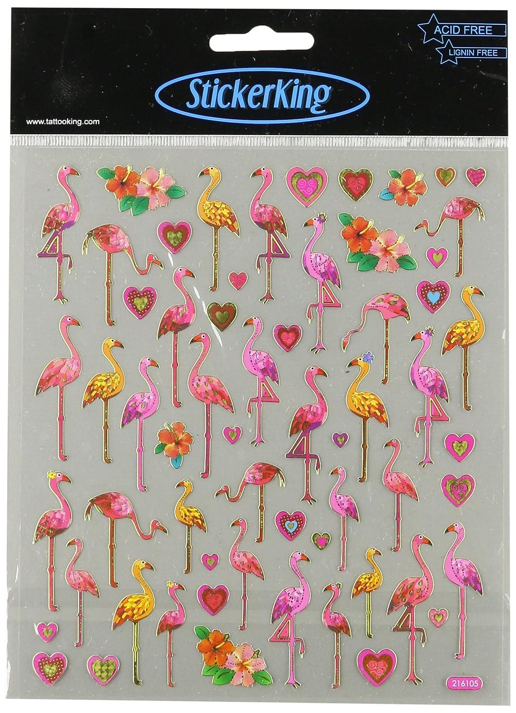Multicolored Stickers-Flamingo Love Tattoo King SK129MC-4250