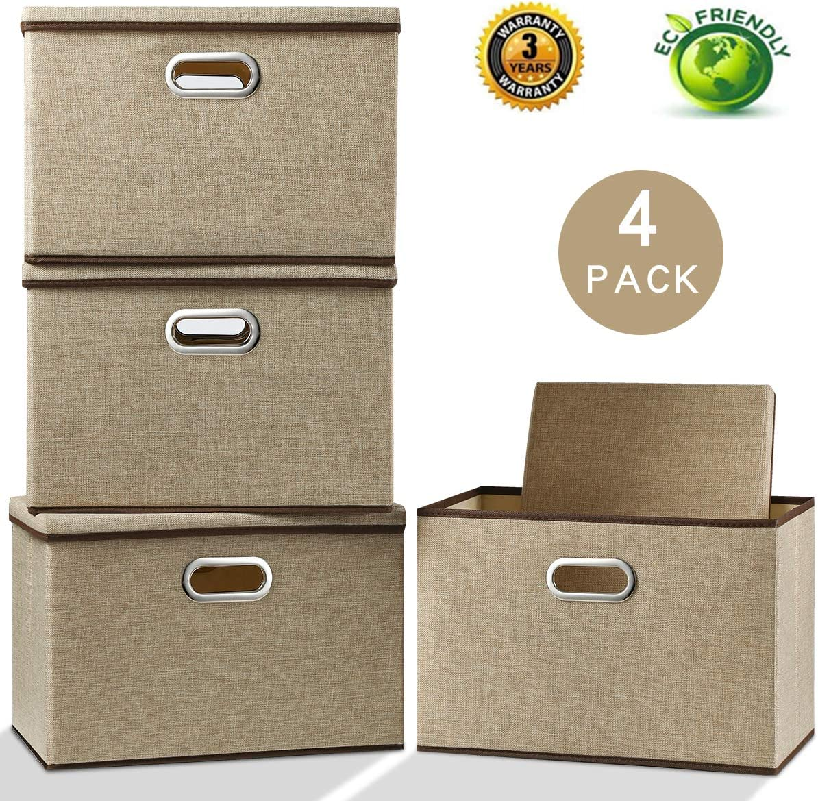 Large Storage Box with Lid [4-Pack] Foldable Jute Fabric Storage Bin with Lid Collapsible Storage Cube Organizer Containers Baskets with Cover for Home Bedroom Closet Office Nursery (17.7x11.8x11.8)