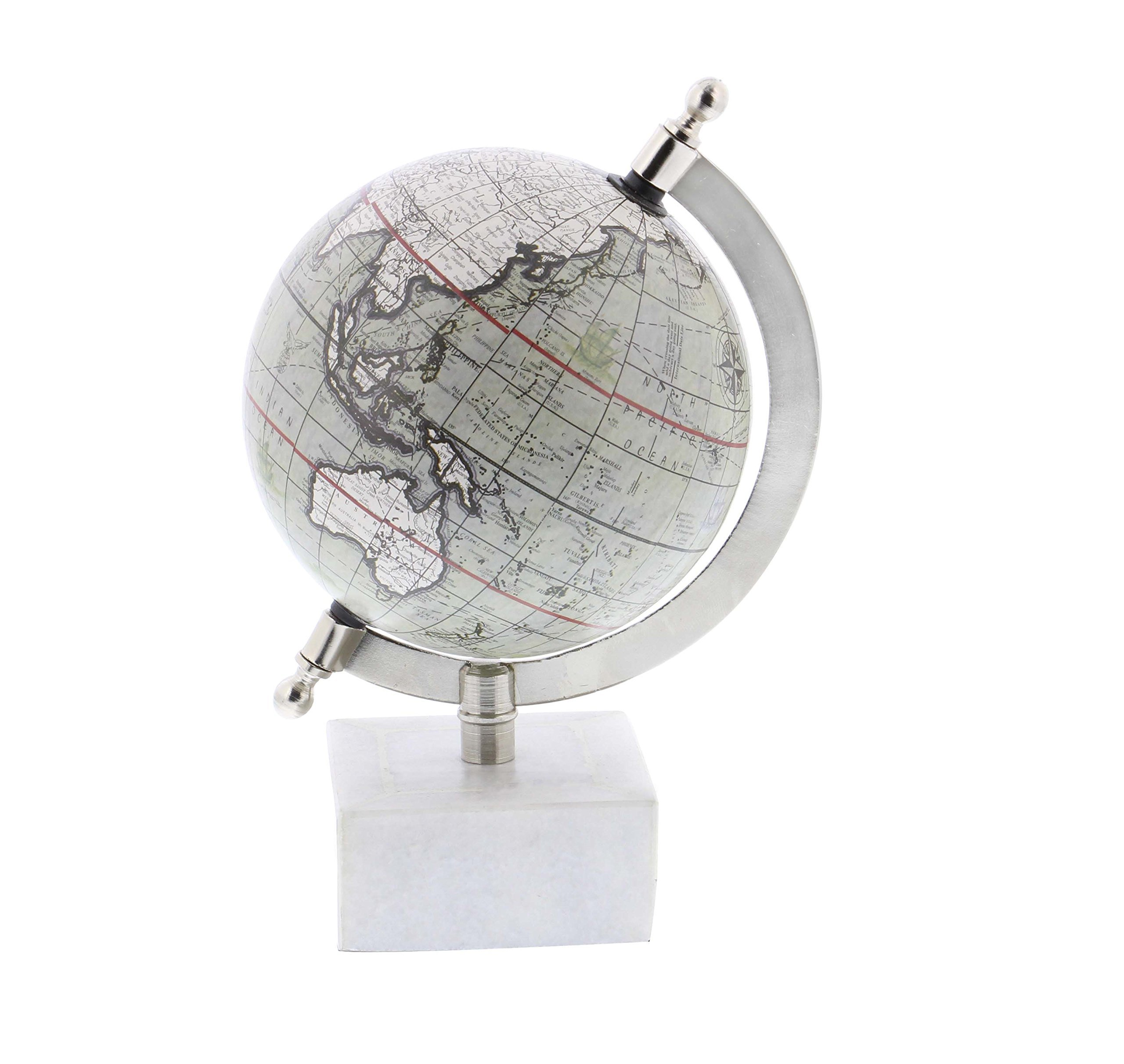 Deco 79 28544 Iron World Globe with Marble Base, 8'' x 5'', Black/White/Silver