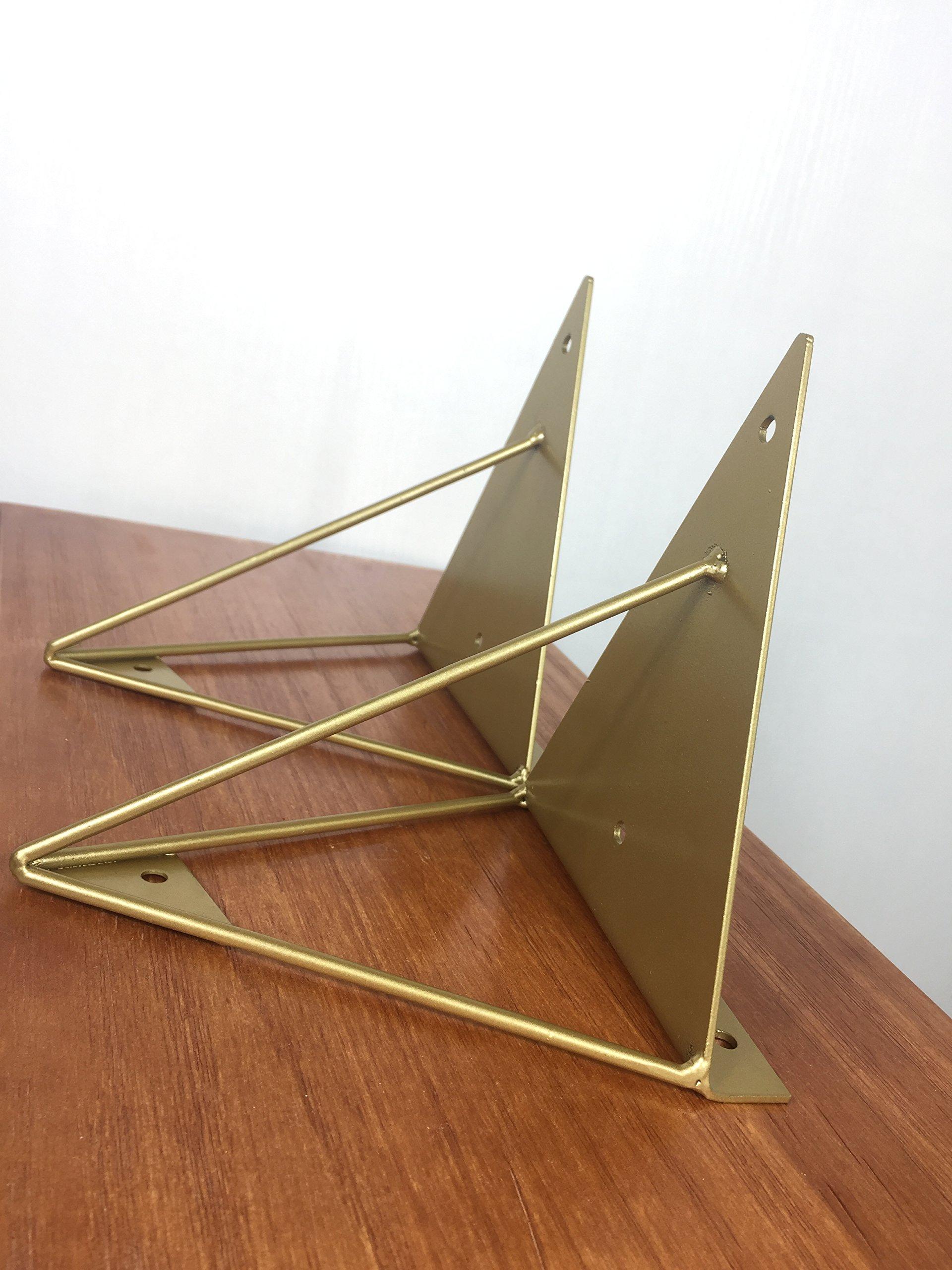 WGX Shelf Brackets,Wall/Display Shelf Hung Bracket DIY Shelf (Gold) 2pcs-Pack