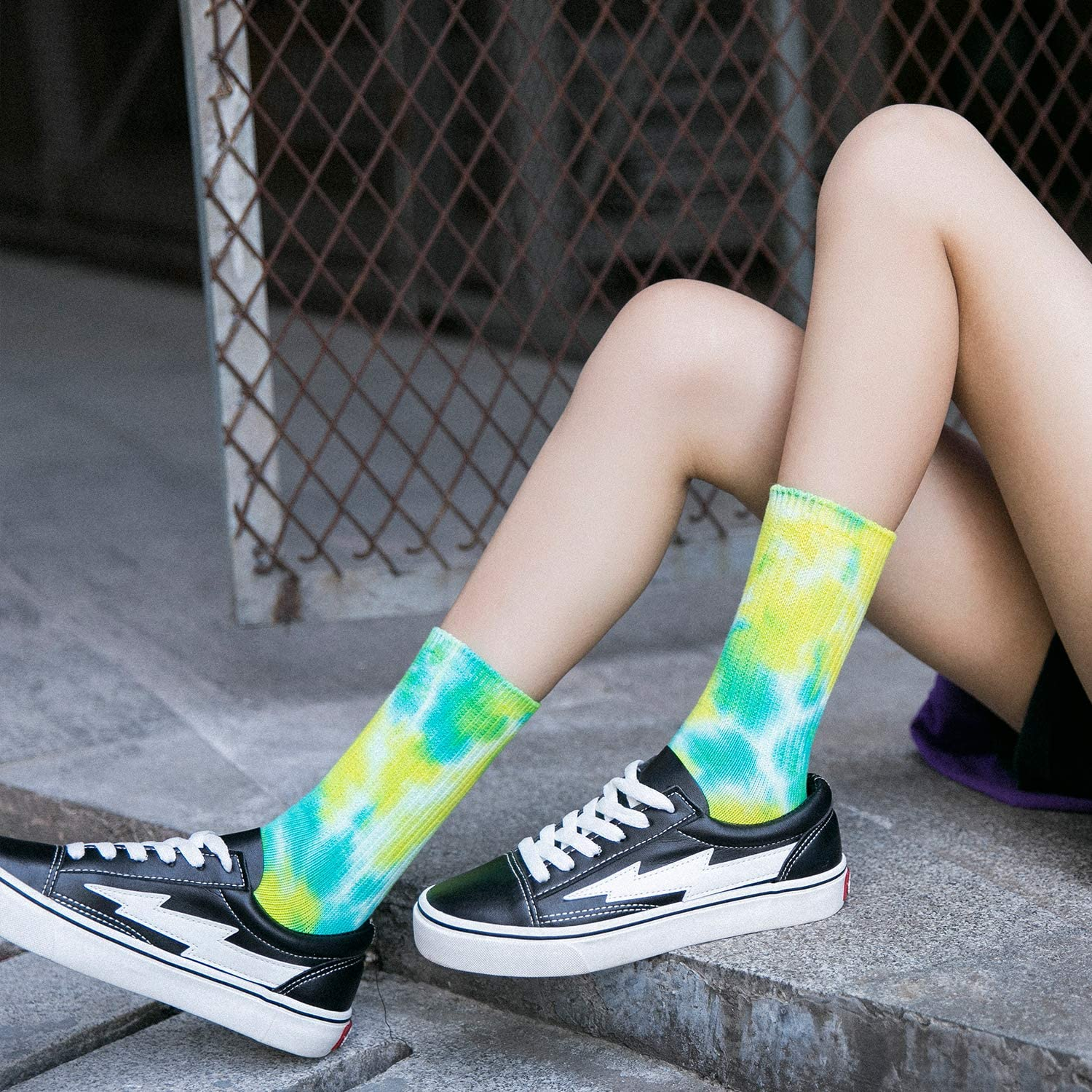A Collection of Funny Novelty Fashion Colorful Cool Crazy Skateboard Tie Dye Crew Dress Socks 5 Pack//6 Pack DREAM SLIM