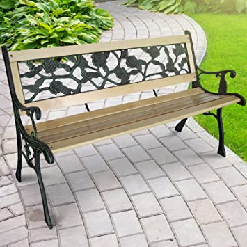 Miadomodo 3 Seater Wooden Outdoor Garden Bench With Rose Design