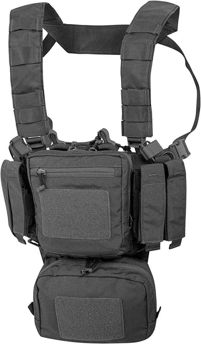 This is an image of the Helikon mini rig, color gray, with buckle-closures.
