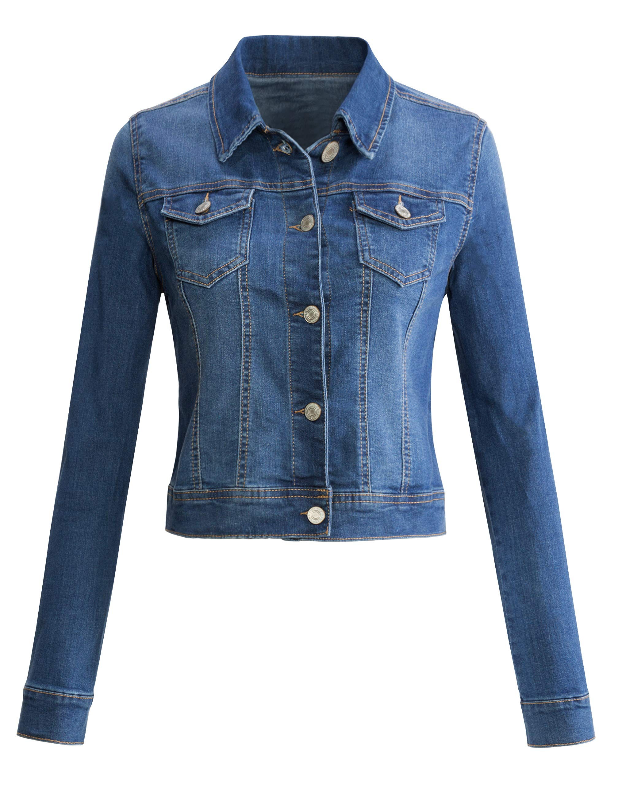 f1b6cc6c710 URBAN K Womens Long-Sleeve Distressed Button Up Denim Jean Jacket Regular   Plus  Size
