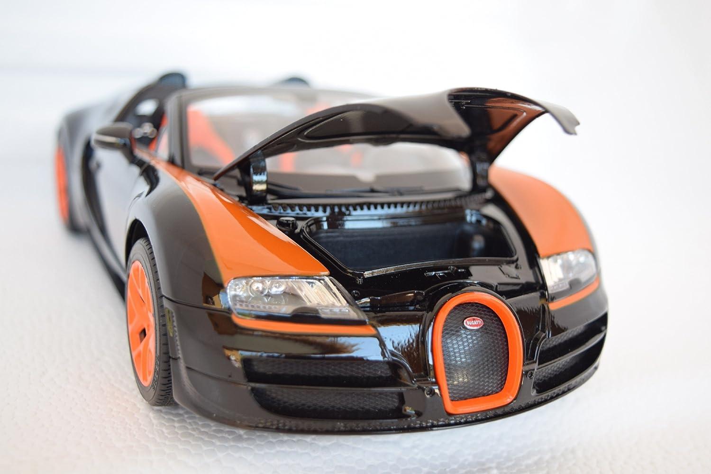 Amazon.com: Bugatti Veyron 16.4 Grand Sport Vitesse, Black/orange, Model Car,  Ready Made, Rastar 1:18: Rastar: Toys U0026 Games