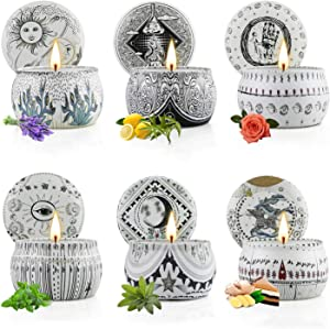 Scented Candle Sets for Gift, Aromatherapy Candles, Soy Wax Stress Relief Candles for Women, Portable Travel Tin Candles Women Gift with Strongly Fragrance, 6 Pack