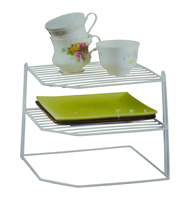 White Laminated Wire 3 Tier Corner Plate Cup Shelf Stand Rack Kitchen Storage Amazon.co.uk Kitchen \u0026 Home  sc 1 st  Amazon UK & White Laminated Wire 3 Tier Corner Plate Cup Shelf Stand Rack ...