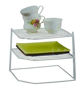 White Laminated Wire 3 Tier Corner Plate Cup Shelf Stand Rack Kitchen Storage  sc 1 st  Amazon UK & White Laminated Wire 3 Tier Corner Plate Cup Shelf Stand Rack ...