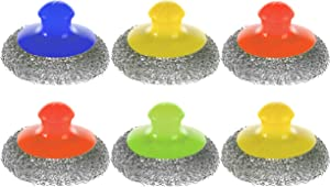 Handle Metal Scourer - Pack of 6 - Steel Wool Stainless Scrubber Cleaning Pads - Scouring Sponge Pad for Dish - Scrub Brush