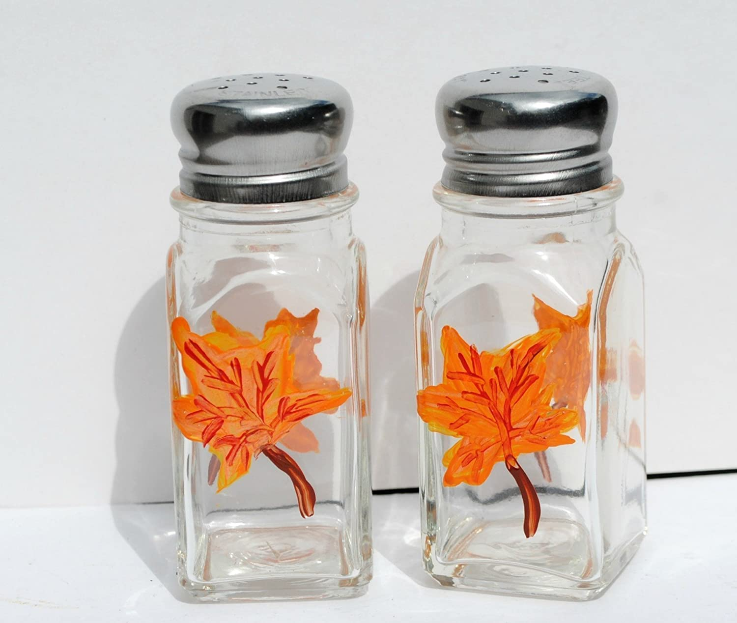 Autumn Orange Maple Leaf Fall Glass Salt & Pepper Shakers Set Hand Painted