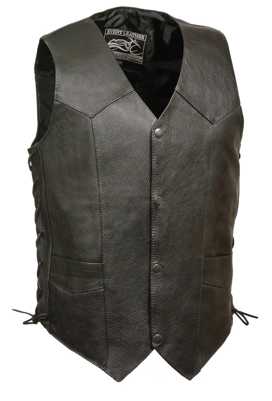 Black, Large Event Biker Leather Mens Promo Grade Side Lace Leather Vest