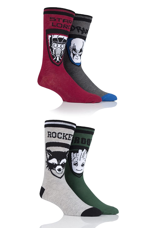 Mens 4 Pair SockShop Guardians of the Galaxy Groot, Rocket, Star-Lord and Drax Cotton Socks