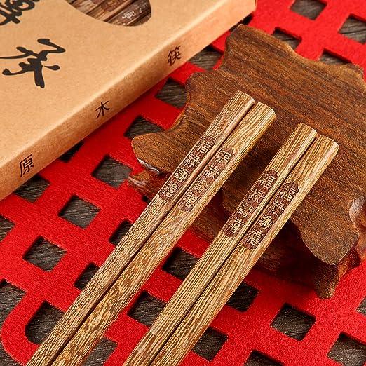Leinuosen 10 Pares de Palillos de Madera Juego de Palillos Reutilizables para Año Nuevo Chino Cena Fiesta de Cumpleaños Asiática (Estilo B): Amazon.es: ...