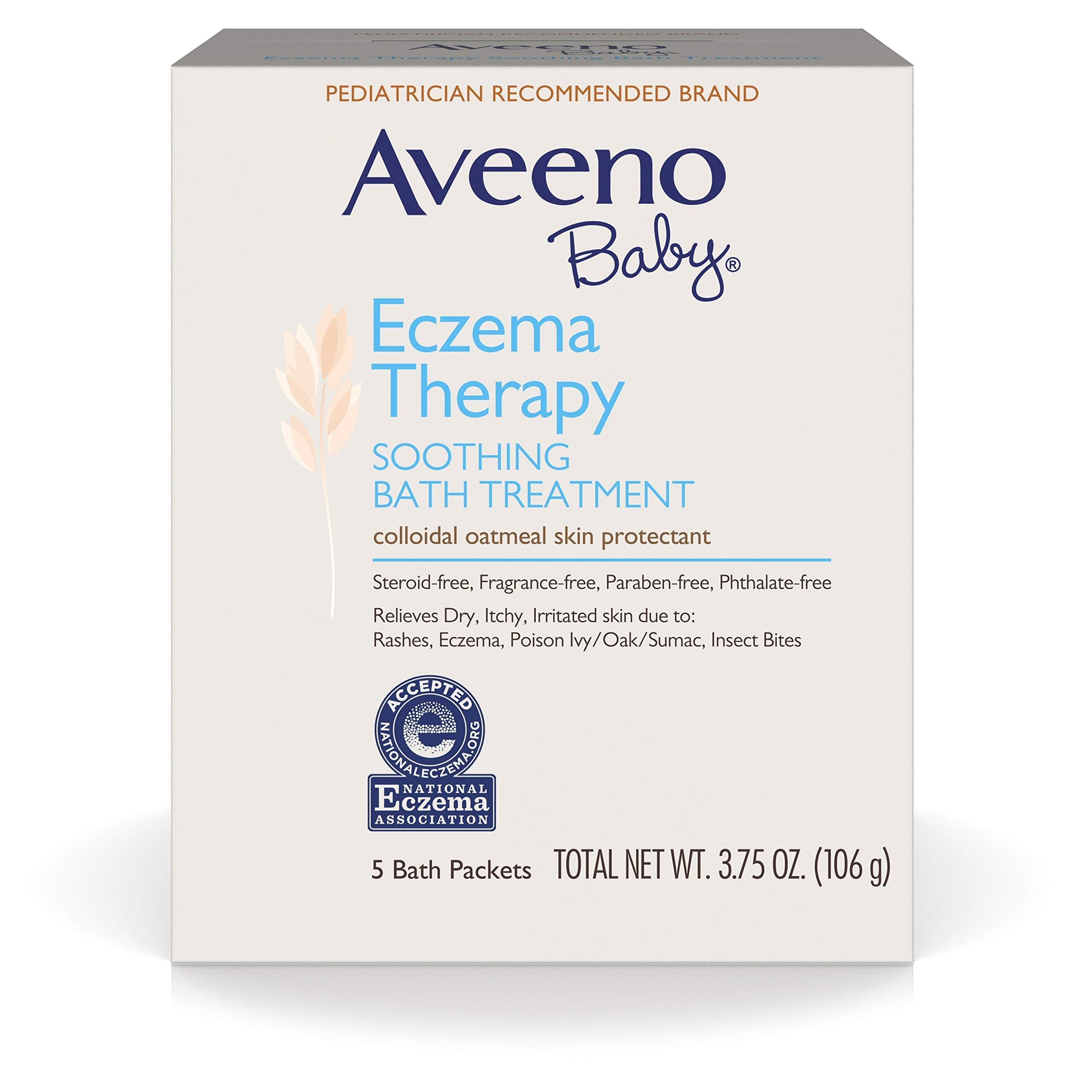 Aveeno Baby Eczema Therapy Soothing Bath Treatment with Soothing Natural Colloidal Oatmeal, 5 Count (Pack of 2)