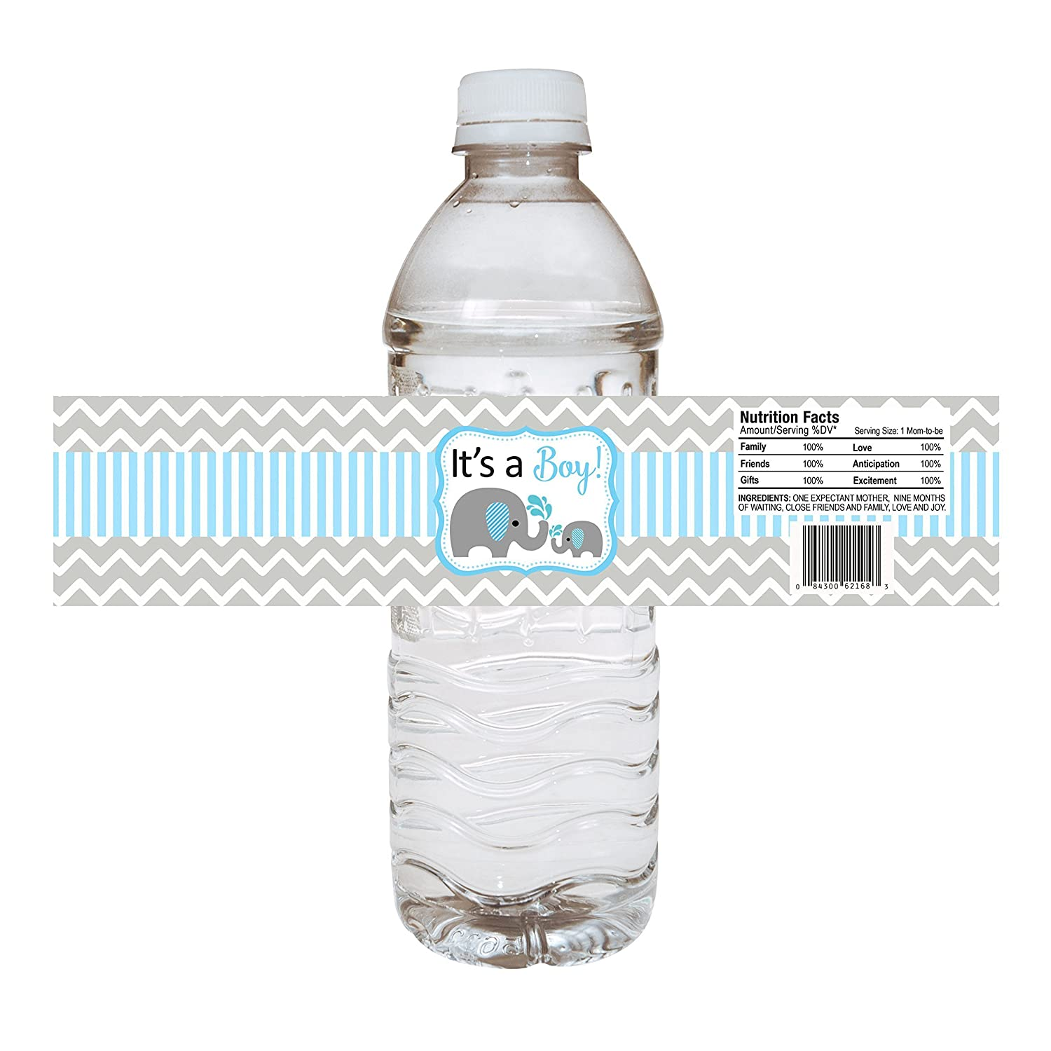Baby Boy Elephant Water Bottle Labels - Baby Shower Party Drink Stickers in Blue - Set of 10