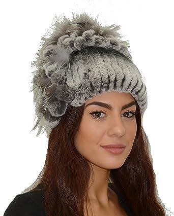 98e0e599c9506 Rex Rabbit Fur Hat with Silver Fox Fur (Black) at Amazon Women s Clothing  store