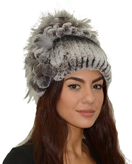 Rex Rabbit Fur Hat with Silver Fox Fur (Black) at Amazon Women s ... af6eab881a5