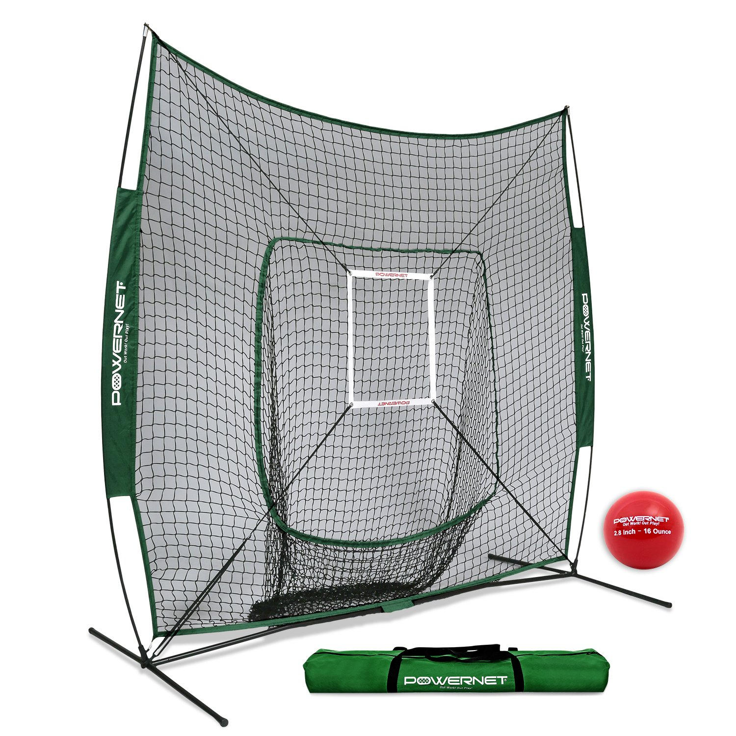PowerNet DLX 7x7 Baseball Softball Hitting Net + Weighted Heavy Ball + Strike Zone Bundle (Green) | Training Set | Practice Equipment Batting Soft Toss Pitching | Team Color | Portable Backstop by PowerNet