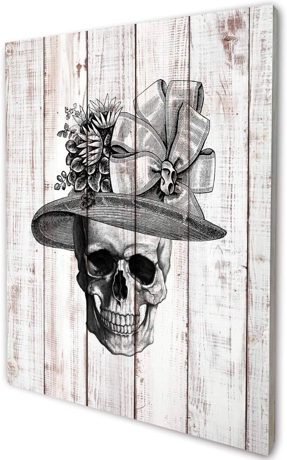 akeke Anatomy Skull Lady Vintage Rustic Farmhouse Wood Wall Art Decor, Unique Steampunk Anatomy Home Studio Decor for Dr Office, Gift for Doctor, Physician, Nurse,Friend, Student, 8