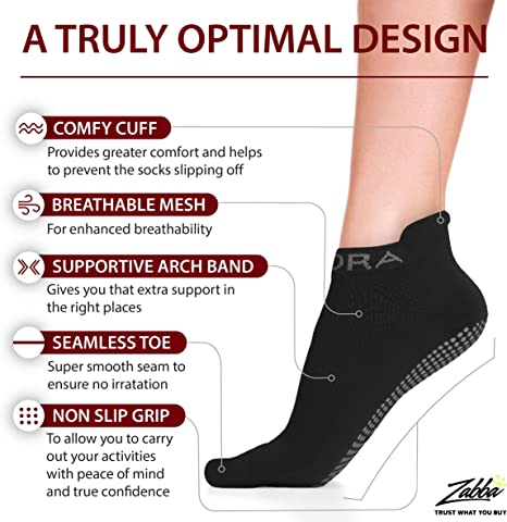 Rutschfeste Anti Skid Grip Socken 2/Paar perfekt f/ür Pilates, Yoga, Barre, Dance, Martial Arts, Trampolin, Fitness, Krankenhaus, Reha, Home /& Body Balance Rymora