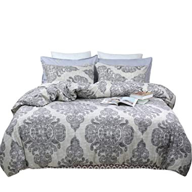 TEALP King Duvet Cover Set Paisley Pattern Printed 3 Piece Soft Brushed Microfiber Down Comforter Quilt Bed Bedding Covers 104x90 King Size, Boho Grey