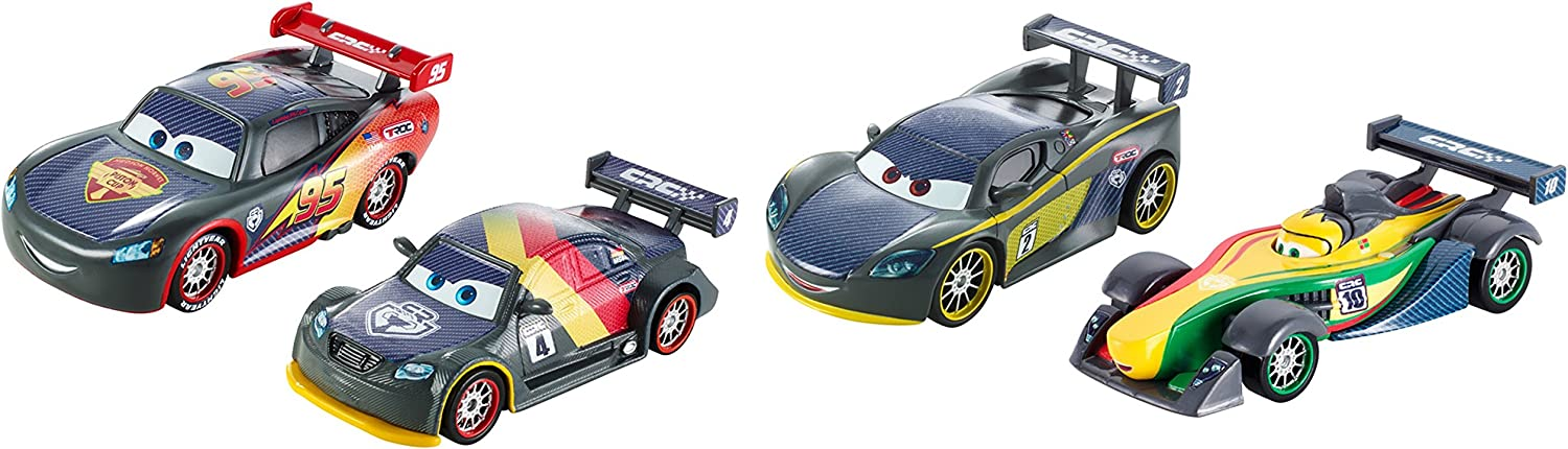 Mattel DHM95 Cars Carbon Racers Carbon Speed Pack of 4