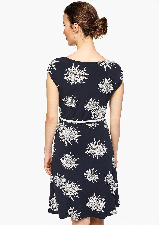 s.Oliver BLACK LABEL Damen Jerseykleid mit drapiertem Ausschnitt