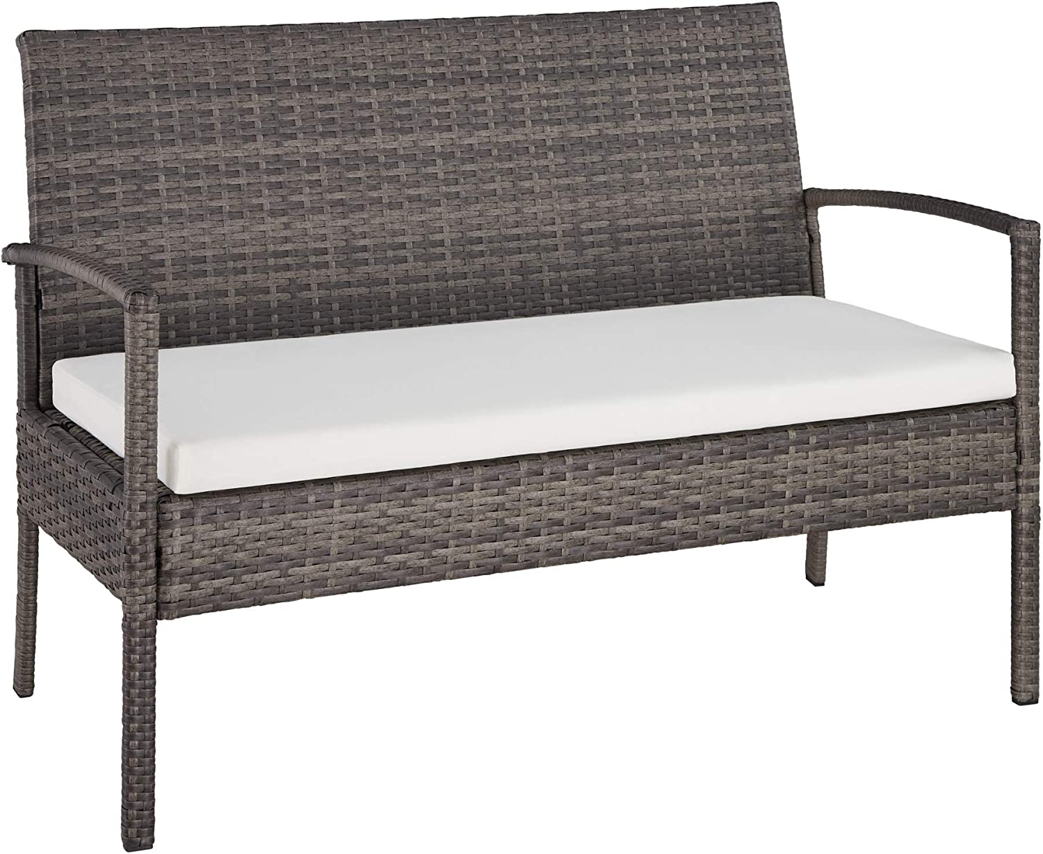 TecTake 403398 Poly Rattan Garden Furniture Grey Cushions Wicker Set with Glass Table,Terrace Lounge Outdoor incl