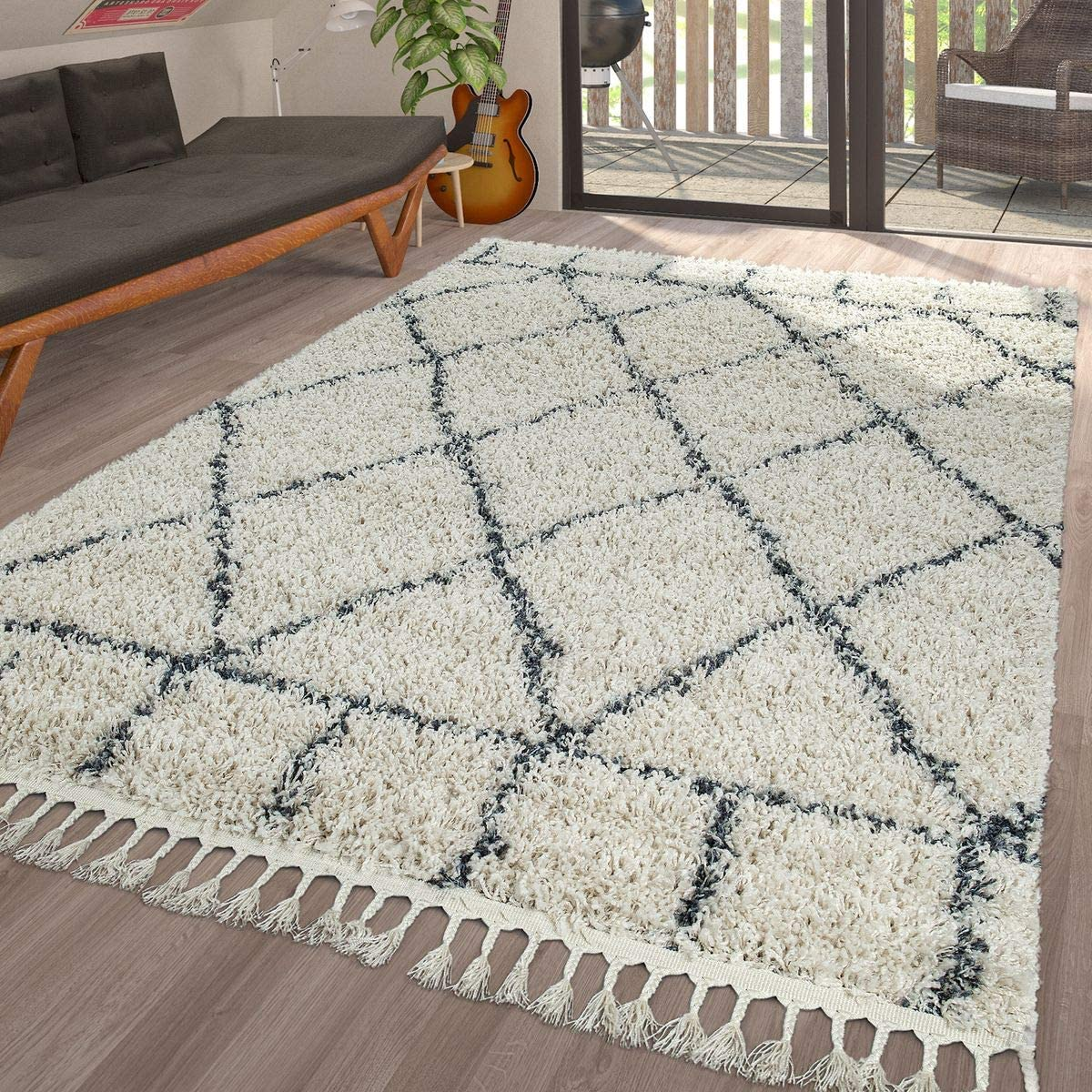 Rug Living Room Shaggy Modern Diamond Pattern Deep Pile Diamonds in Cream Blue, Size 2 x 3 3