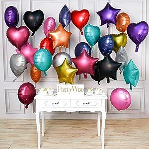 PartyWoo Metallic Foil Balloons, 30 pcs 18 Inch Star Mylar Balloons, Heart Mylar Balloons, Mylar Round Balloons, Metallic Mylar Balloon for Starry Night Party, Twinkle Twinkle Little Star Shower