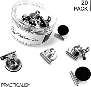 Practicalism Velvet Strong Magnetic Clips (20) | Refrigerator Magnets Clips | 31mm Wide Scratch Safe | Clip Magnets for House Office School | Magnets for whiteboard, Home Decoration, Photo Displays