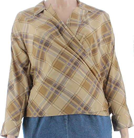 Lauren Ralph Lauren Womens Plus Plaid Long Sleeves Wrap Top Multi 3X