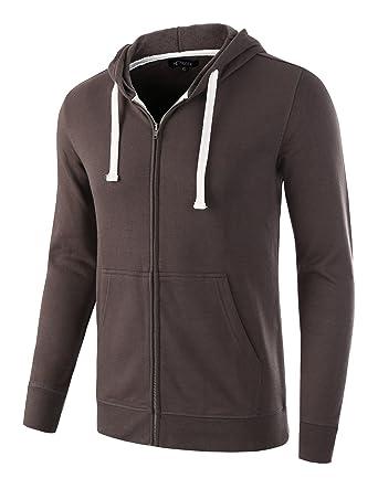 42384d78f4e3f HETHCODE Mens Casual Fashion Zip Up Long Sleeve Pocket Hoodie Sweatshirt  Jacket Charcoal XS