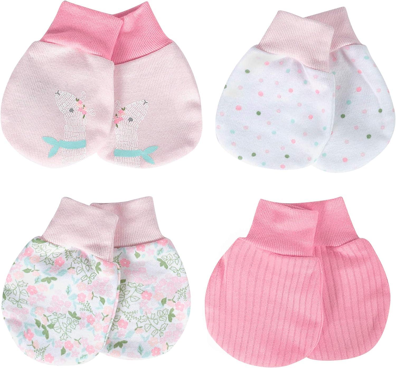Just Born Boys Baby Girls 4-Pack Organic Lil Llama Mittens 0-3 Month