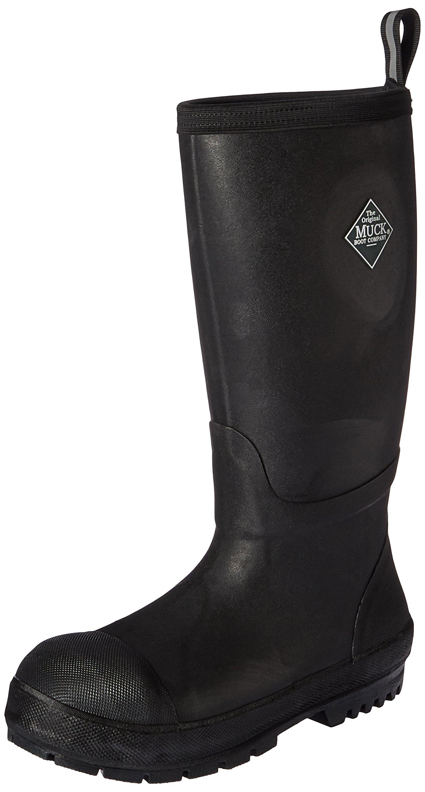 Muck Boot Men's Chore Resistant Tall Steel Toe Work Boot, Black, 10 US/10-10.5 M US