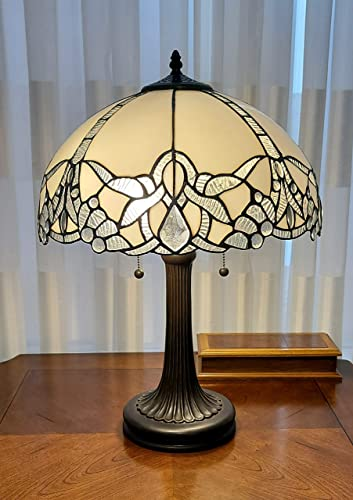 Amora Lighting Tiffany Style Table Lamp Banker Jeweled Jagged Edge 23″ Tall Stained Glass White Mahogany Elegant Vintage Antique Light D cor Living Bedroom Office Handmade Gift AM241TL16B