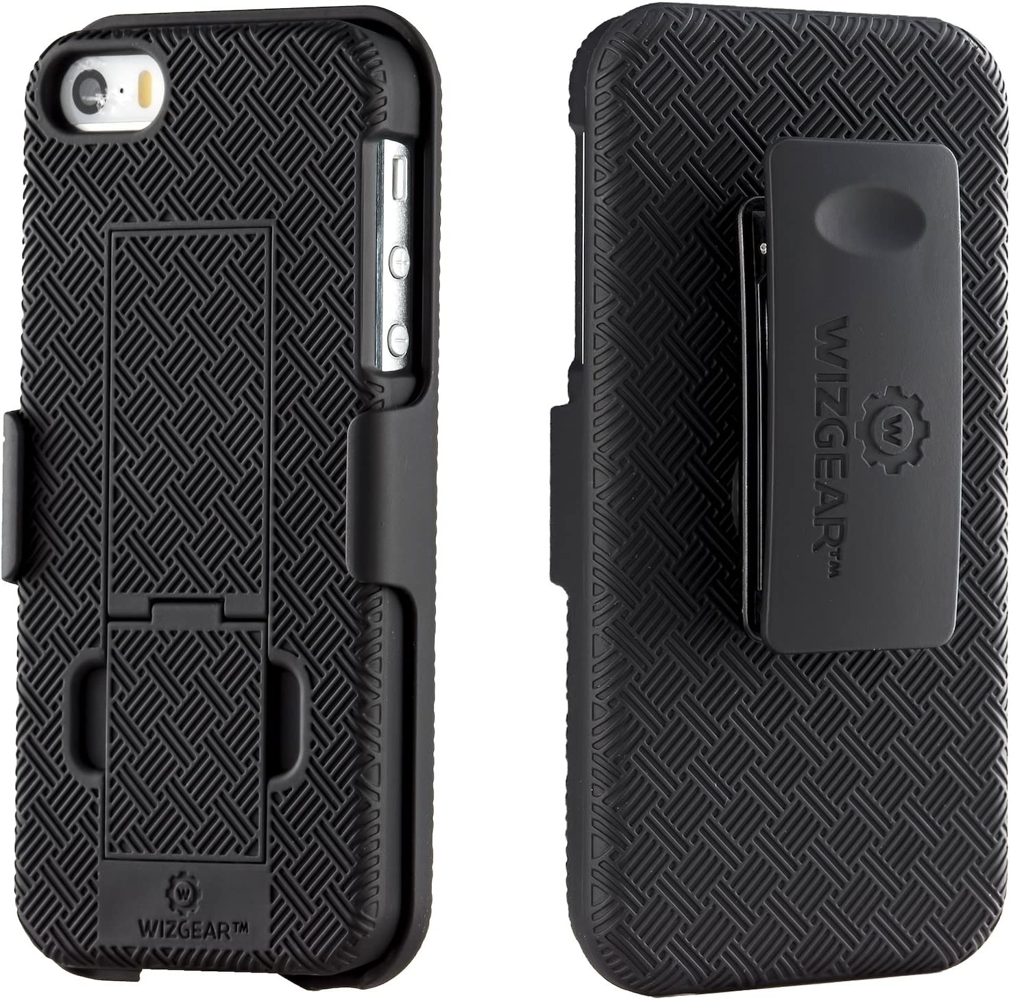 WizGear Shell Holster Combo Case for Apple iPhone Se / 5 / 5S with Kick-Stand and Belt Clip (Doesn't Fit iPhone SE 2020)