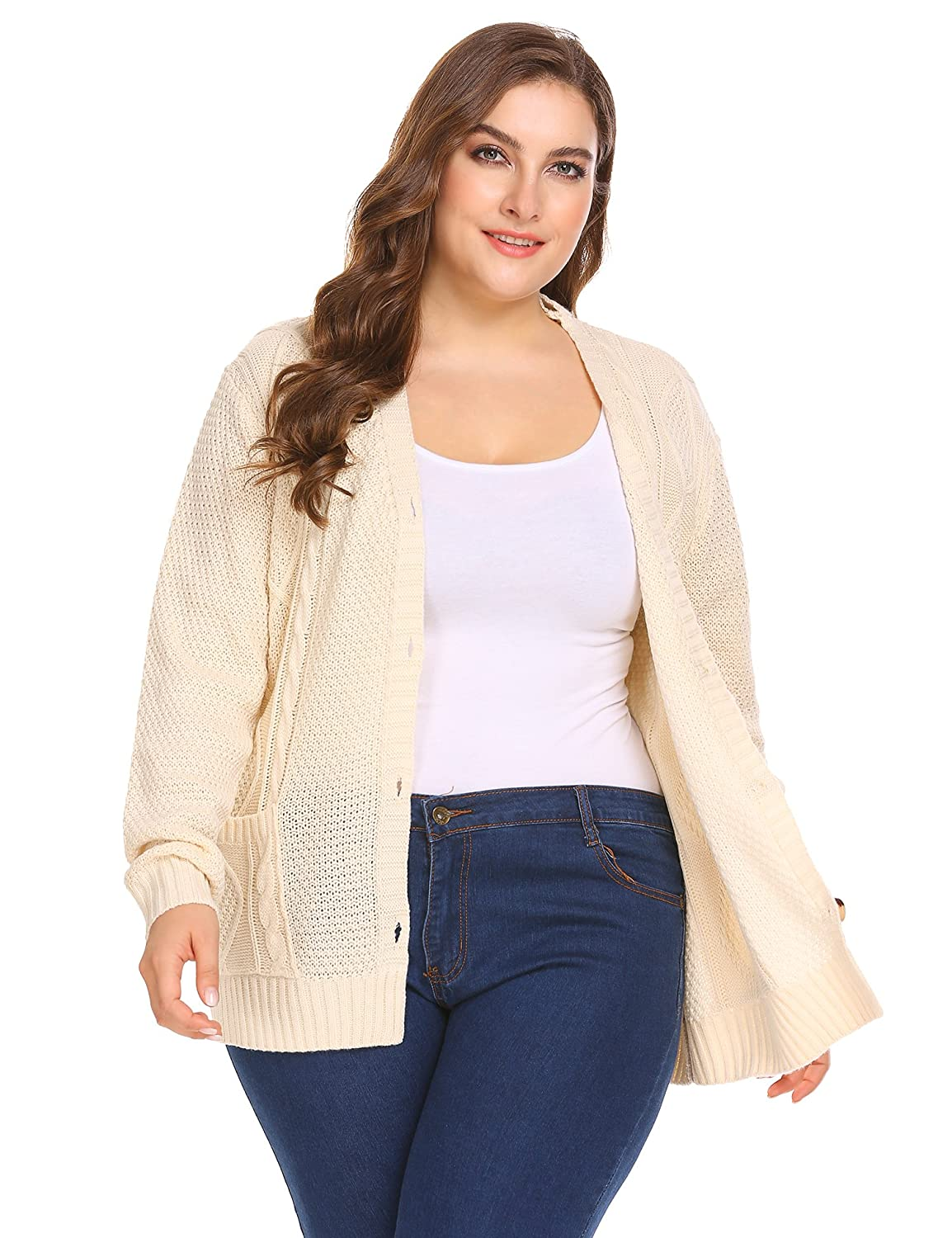 cd311be27d Zeagoo Womens Plus Size V-Neck Cable Knit Button Down Chunky Cardigan  Sweater Coat Pockets at Amazon Women s Clothing store