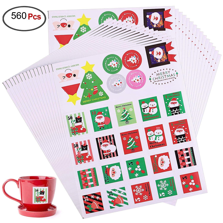 Howaf 560 Assortiti Etichette Decorative Adesivi Natalizi Stickers Decorazione per Natale Buste, Adesivo per Natale Regalo Sacchetto Bomboniere, Scrapbooking