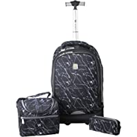Wires Printed Backpack Big Wheel Trolley Set -Lunch Bag + Pencil Case