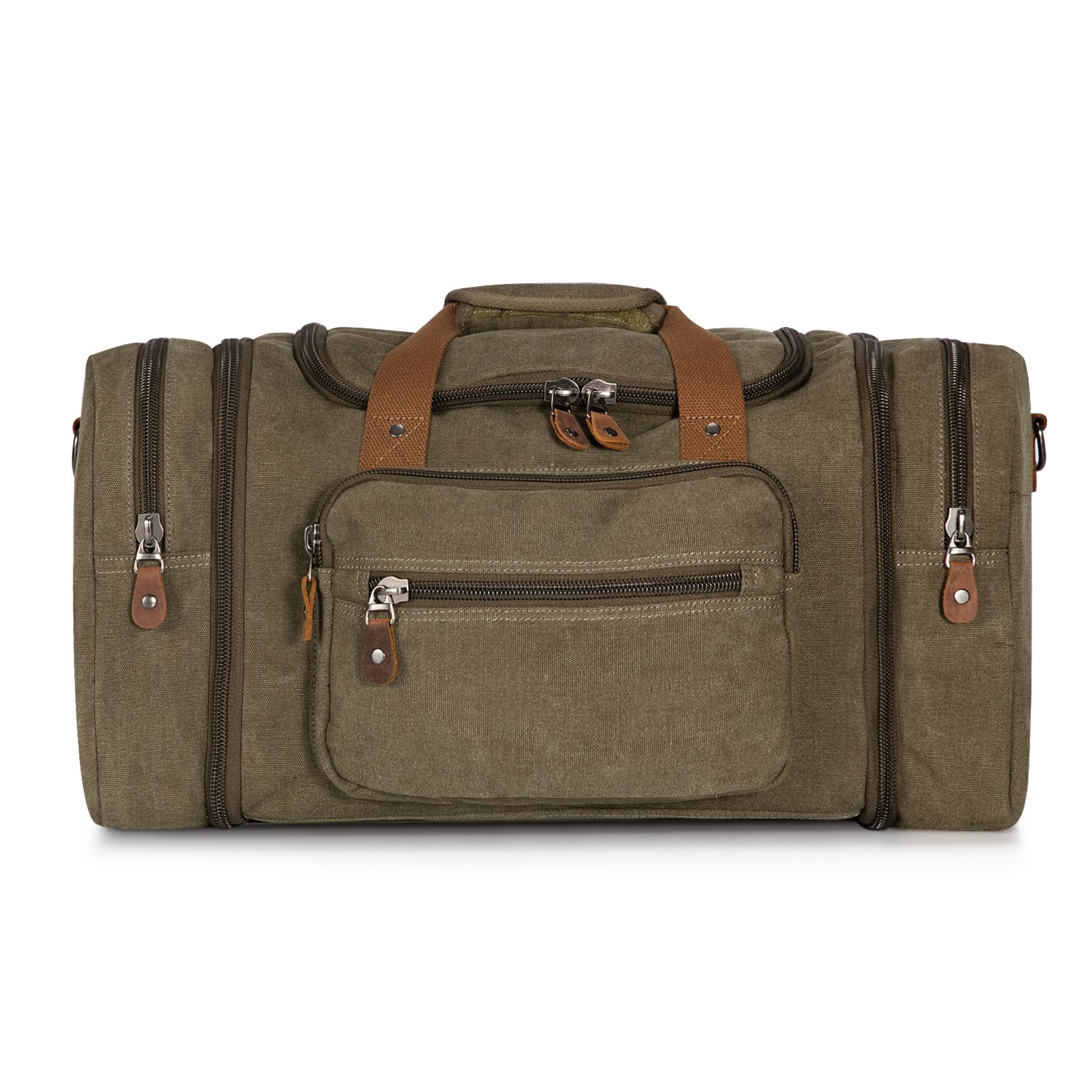 Plambag Oversized Canvas Duffle Bag 50L Tote Travel Weekend Luggage Gym Bag Army Green