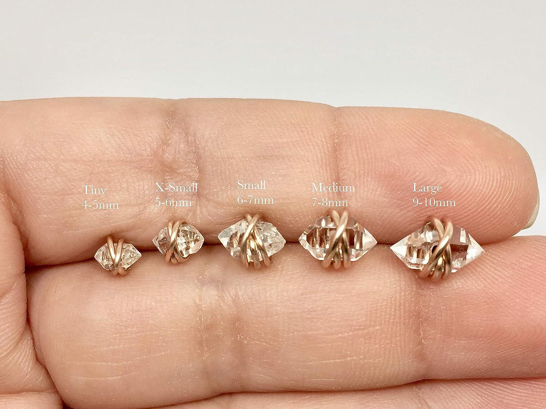 Herkimer Diamond Quartz Crystal Stud April Birthstone Small Rose Gold Filled Stud Herkimer Diamond Dainty Stud X- Small