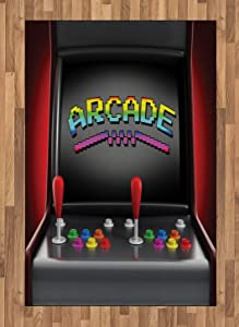 Ambesonne Video Games Area Rug, Arcade Machine Retro Gaming Fun Joystick Buttons Vintage 80's 90's Electronic, Flat Woven Accent Rug for Living Room Bedroom Dining Room, 4' X 5.7', Charcoal Red