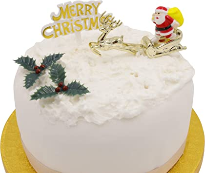 Merry Christmas Christmas Cake Topper Sign Yul Log Decor Decoration