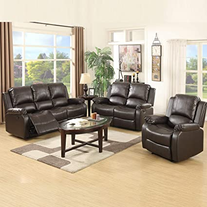 Amazon.com: Mecor 3 Piece Sofa Set Bonded Leather Reclining ...