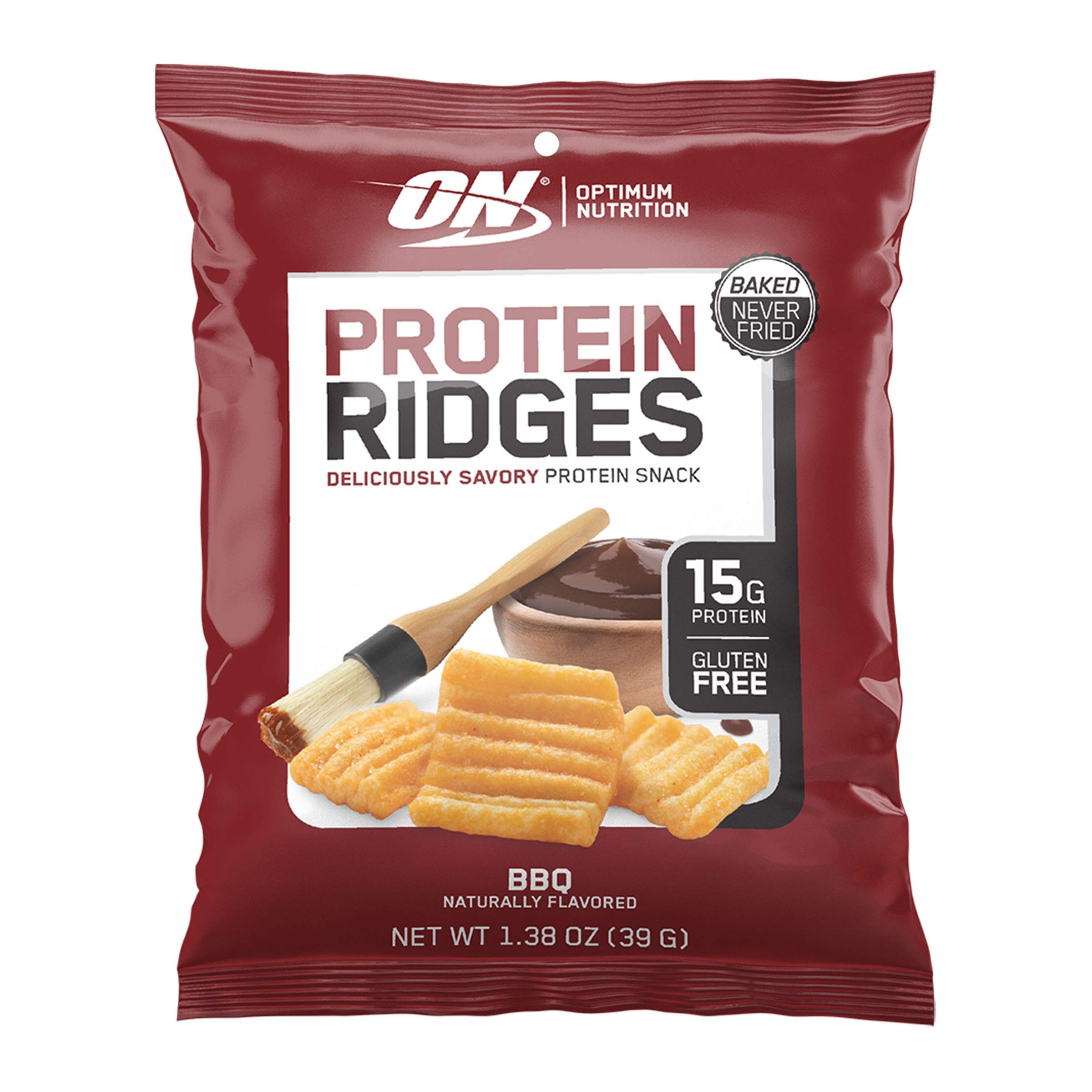 Optimum Nutrition High Protein Ridges Baked Chips, BBQ, 10 Count