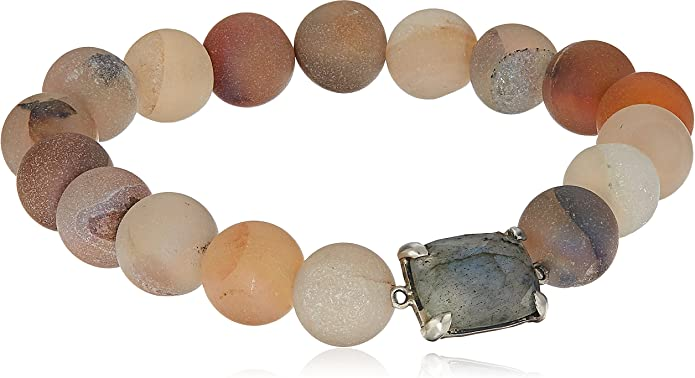 Stretch Bracelet with Druzy Matte Black Agate and Silver