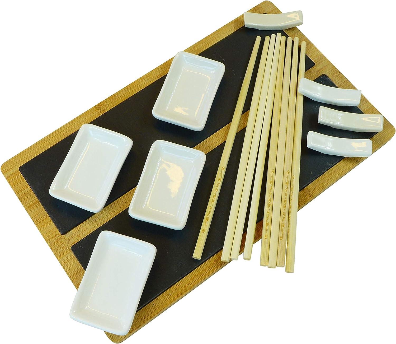Juego de Platos para Sushi Alpina 33 x 20 cm, Pizarra y bamb/ú, con Palillos y Cuencos, para 4 Personas
